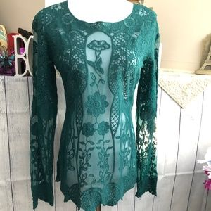 Maurices Sz S Green Lace LS Top *90H*